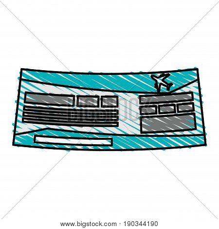 airplane ticket doodle over white background vector illustration design
