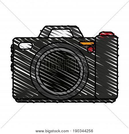 camera doodle over white background vector illustration design