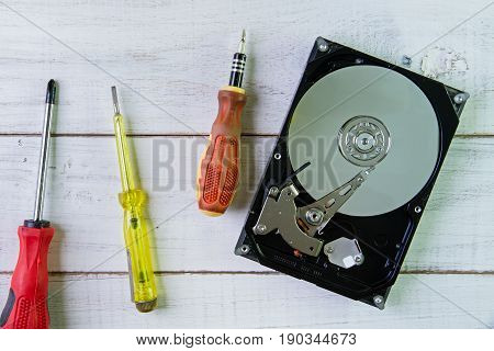 Screwdrivers And A Hard Disk  On The White Wooden Background.