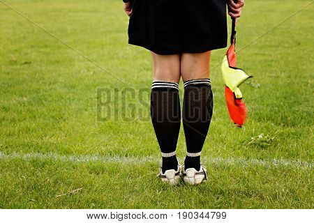 Soccer referee with flag against green grass