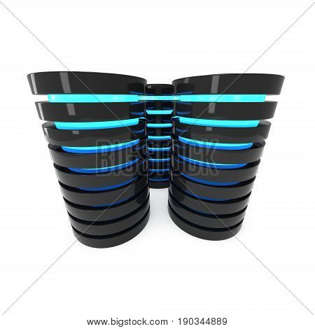 Futuristic server hard disk and database block or battery cell. 3d render isolated on white. Web Hosting or cloud computing concept.