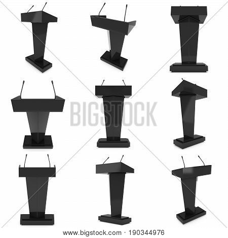 3d Speaker Podium Set. Black Tribune Rostrum Stand with Microphones. 3d render isolated on white background. Debate, press conference concept