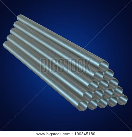 Stack of steel metal pipes. 3d render on blue. Business industry concept