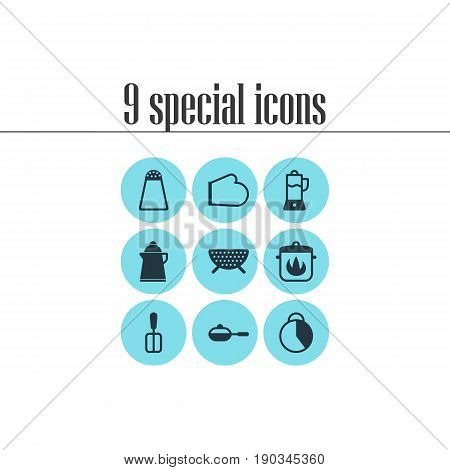 Vector Illustration Of 9 Kitchenware Icons. Editable Pack Of Sieve, Fruit Squeezer, Cooking Spade And Other Elements.