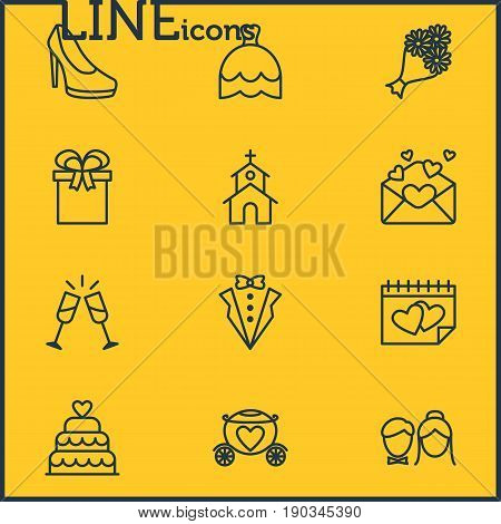 Vector Illustration Of 12 Wedding Icons. Editable Pack Of Calendar, Couple, Bridegroom Dress And Other Elements.