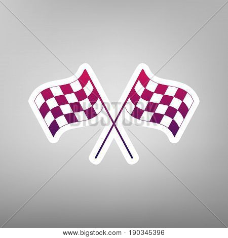 Crossed checkered flags logo waving in the wind conceptual of motor sport. Vector. Purple gradient icon on white paper at gray background.