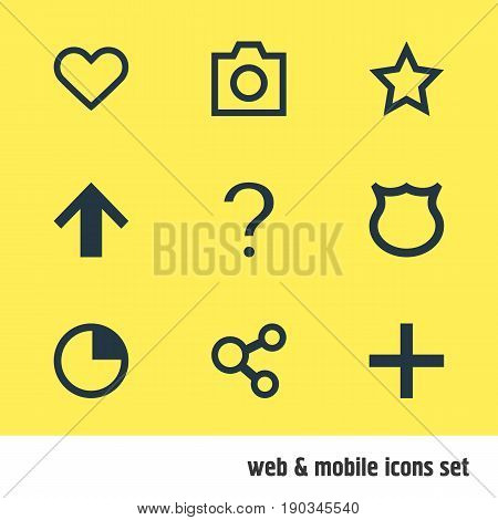 Vector Illustration Of 9 Member Icons. Editable Pack Of Publish, Plus, Asterisk And Other Elements.