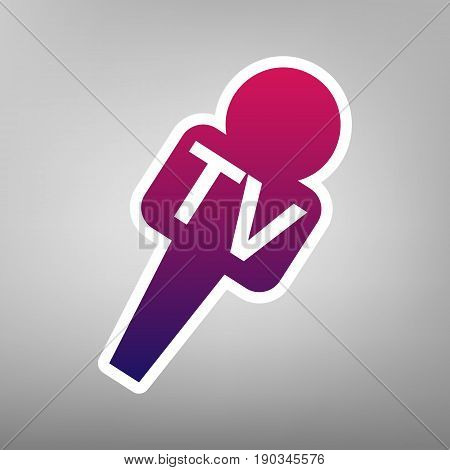 TV microphone sign illustration. Vector. Purple gradient icon on white paper at gray background.