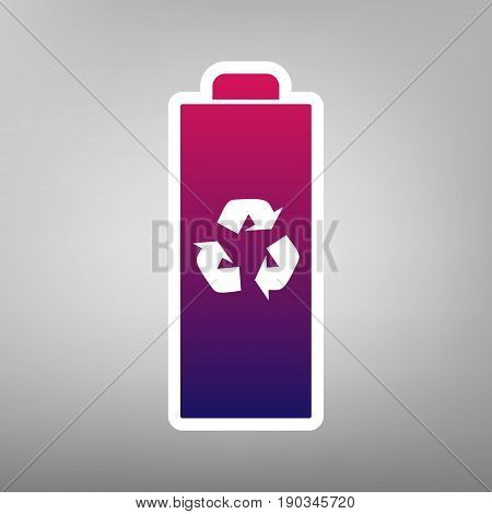 Battery recycle sign illustration. Vector. Purple gradient icon on white paper at gray background.