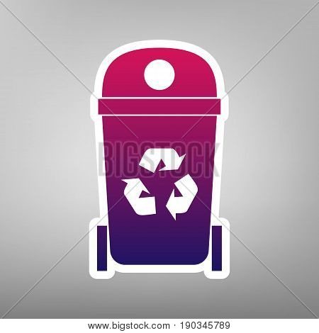 Trashcan sign illustration. Vector. Purple gradient icon on white paper at gray background.