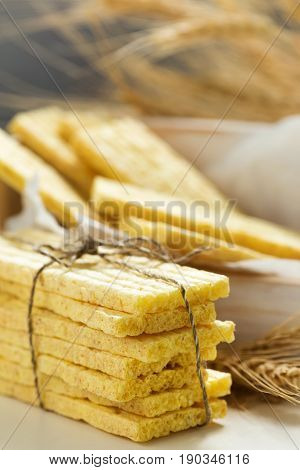 background, baked, bread, breakfast, cereal, corn, cracker, crisp, crispbread, crispy, crunchy, diet, dietary, dieting, dry, ears, eat, flat bread, food, fresh, grain, hard, healthy, light, lunch, meal, natural, nutrition, organic, overhead, slice, snack,