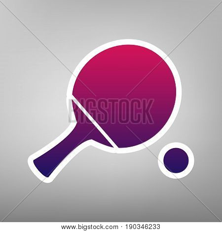 Ping pong paddle with ball. Vector. Purple gradient icon on white paper at gray background.