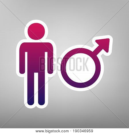 Male sign illustration. Vector. Purple gradient icon on white paper at gray background.