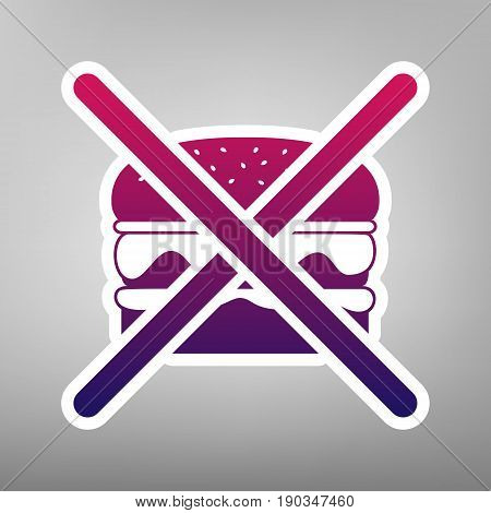 No burger sign. Vector. Purple gradient icon on white paper at gray background.