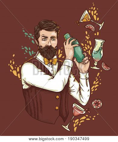 retro bartender making cocktails, can be used as poster for old fashioned party, vector illustration