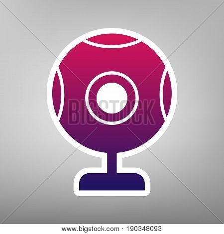 Chat web camera sign. Vector. Purple gradient icon on white paper at gray background.