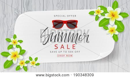 Web banner with flowers for summer sale. Beautiful background with plumeria flowers on wooden texture. Vector illustration with paper.