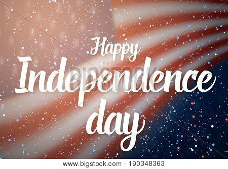 Illustration of Happy Independence Day Vector Poster. 4th of July USA Flag on Blue Stars Background with Confetti Particle Effect