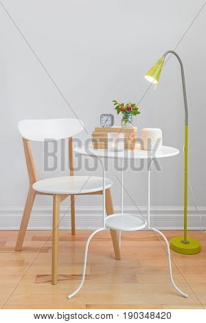 Elegant home decor with modern furniture and floor lamp.