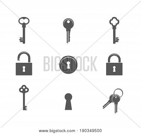 Key. Icon set. Abstract keys and padlocks on white background