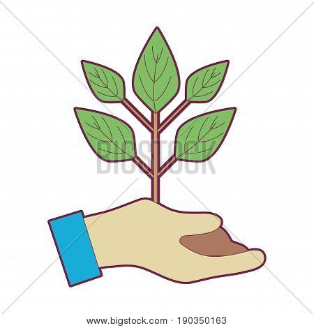 hand with plant with ground to planet conservation vector illustration