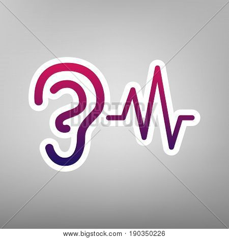 Ear hearing sound sign. Vector. Purple gradient icon on white paper at gray background.