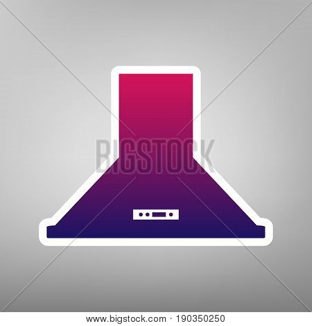 Exhaust hood. Kitchen ventilation sign. Vector. Purple gradient icon on white paper at gray background.