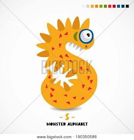 Monster alphabet. The letter S. Strange animal. Vector illustration on white background. Great children's print. The concept of a kid's toy.