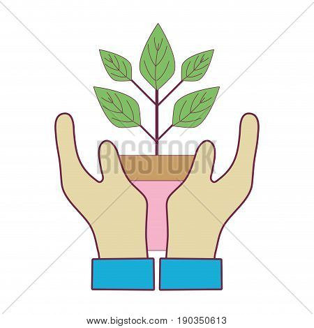 hand with plant with flowerpot to planet conservation vector illustration