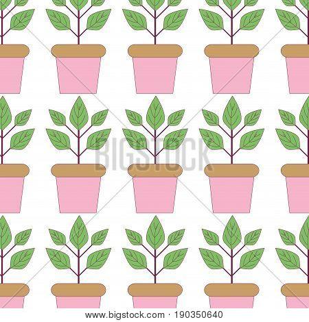 plant inside flowerpot to ecology preservation background vector illustration