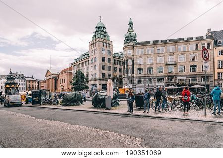 Copenhagen Denmark - August 10 2016. Cityscape of historical city centre of Copenhagen. The bicycle is the typical mode of transport in Denmark