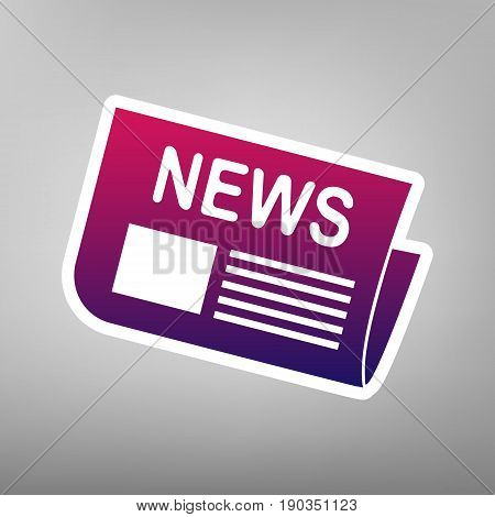 Newspaper sign. Vector. Purple gradient icon on white paper at gray background.