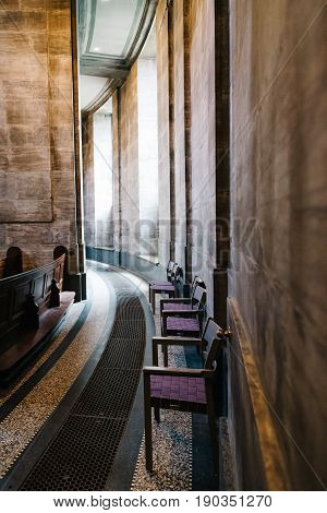 Copenhagen Denmark - August 10 2016. Interior view of Frederik Church popularly known as The Marble Church for its rococo architecture is an Evangelical Lutheran church in Copenhagen Denmark.