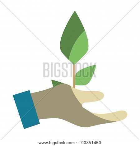 hand with plant with planet conservation vector illustration