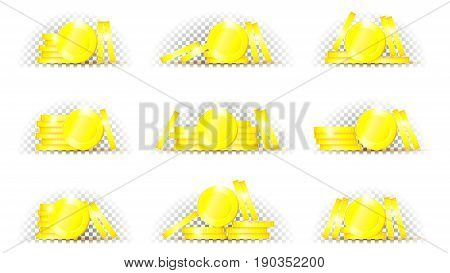 Set of coins in different position. Collection of golden coins isolated on transparent backdrop. Vector illustration of money.
