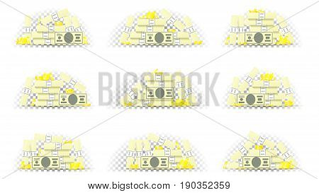 Set of paper money with golden coins in different position. Collection of greenbacks and metal money isolated on transparent backdrop. Vector illustration.