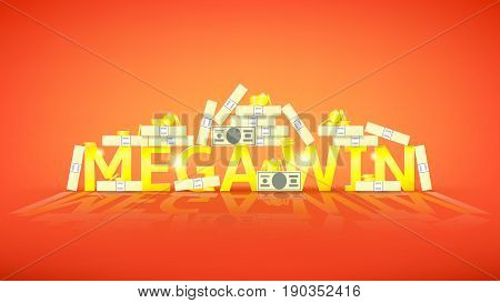 Mega win retro banner with money. Vector illustration with golden coins and paper greenbacks. Label for winners of poker, cards, roulette and lottery.