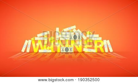 Winner retro banner with money. Vector illustration with golden coins and paper greenbacks. Label for winners of poker, cards, roulette and lottery.