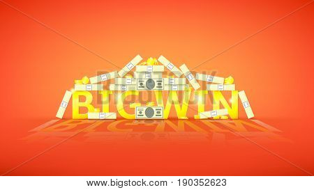 Big win retro banner with money. Vector illustration with golden coins and paper greenbacks. Label for winners of poker, cards, roulette and lottery.