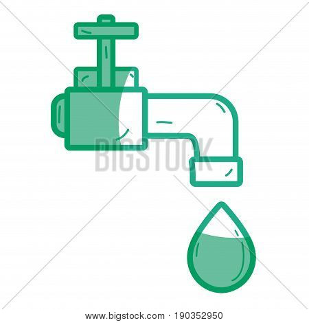 silhouette faucet with drop of water to ecology conservation vector illustration