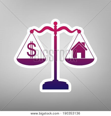House and dollar symbol on scales. Vector. Purple gradient icon on white paper at gray background.