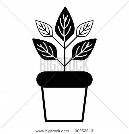 contour plant inside flowerpot to ecology preservation vector illustration
