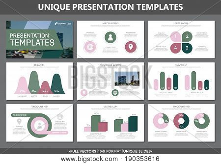 Set of colored elements for multipurpose presentation template slides with graphs and charts. Leaflet, corporate report, marketing, advertising, annual report, book cover design.