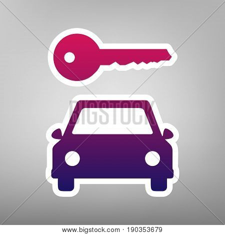 Car key simplistic sign. Vector. Purple gradient icon on white paper at gray background.