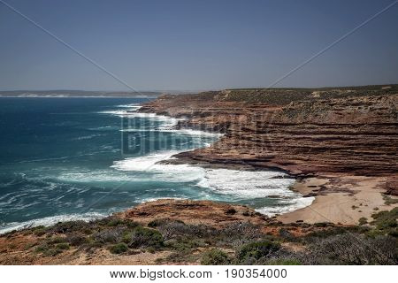 Western Australia - rocky coastline with strong surge and high cliffs