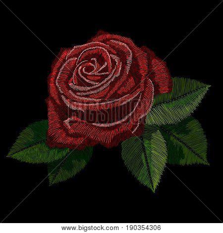 Red rose embroidery, Red rose embroidery, Red rose embroidery, Red rose embroidery, Red rose embroidery. Vector.