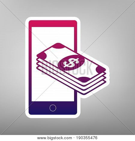 Payment, refill your mobile smart phone, . Vector. Purple gradient icon on white paper at gray background.