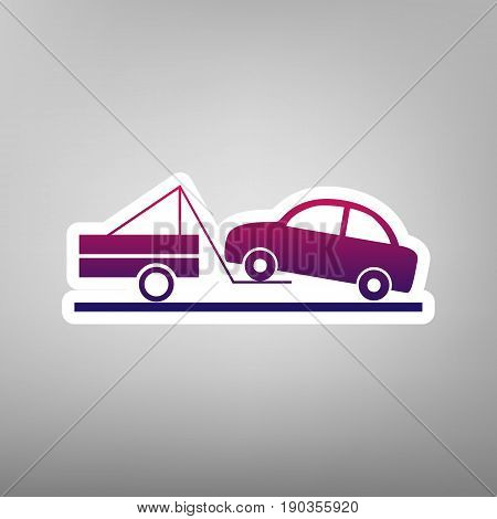 Tow truck sign. Vector. Purple gradient icon on white paper at gray background.