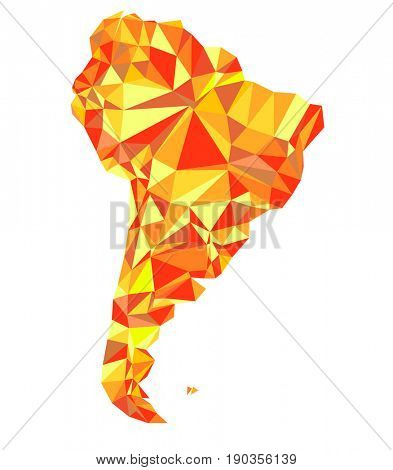 Abstract continent of South America from triangles. Origami style. Polygonal pattern for your design.