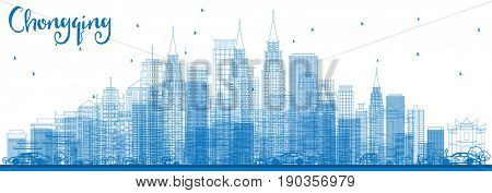 Outline Chongqing Skyline with Blue Buildings. Business Travel and Tourism Concept with Chongqing Modern Buildings. Image for Presentation Banner Placard and Web.